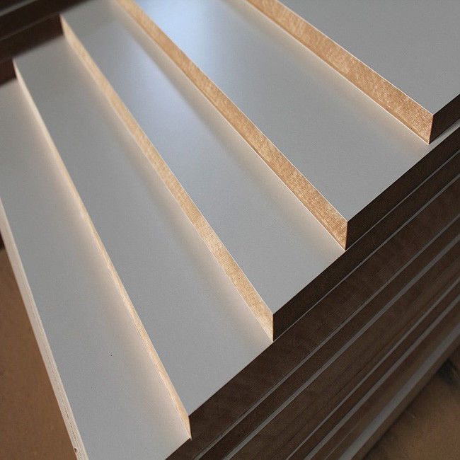 Interior Decoration Laminated MDF Board High Gloss White / Warm White / Titanium White